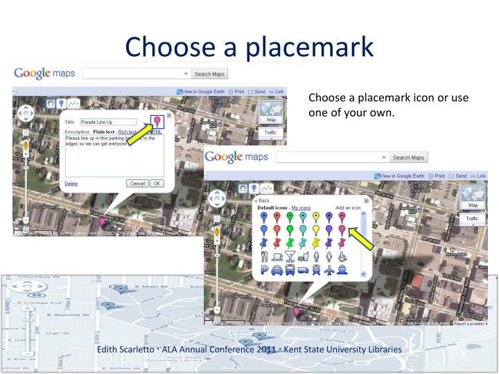 Choose a placemark