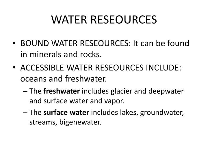 WATER RESEOURCES