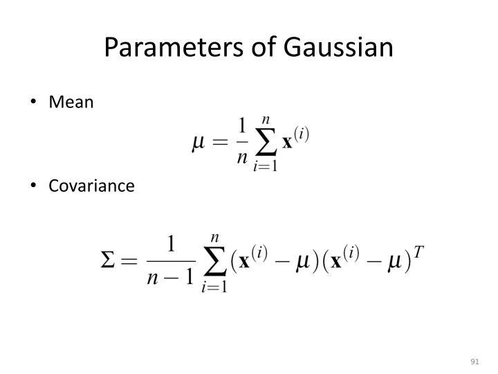 Parameters of Gaussian