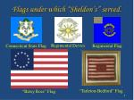 flags under which sheldon s served