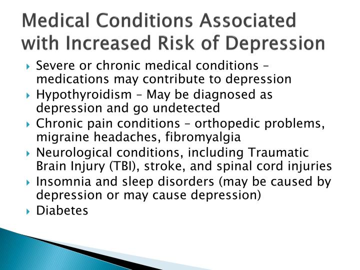 Medical Conditions Associated with Increased Risk of Depression