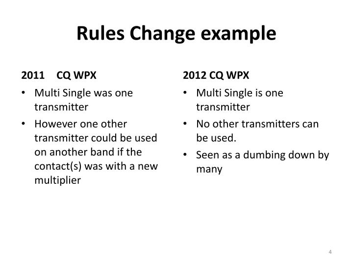 Rules Change example