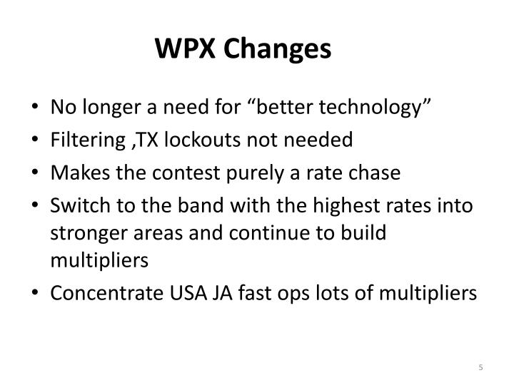 WPX Changes