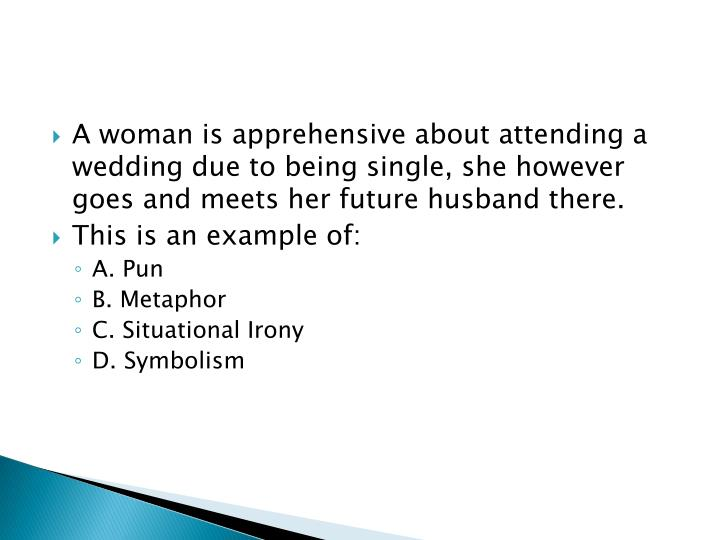 A woman is apprehensive about attending a wedding due to being single, she however goes and meets her future husband there.