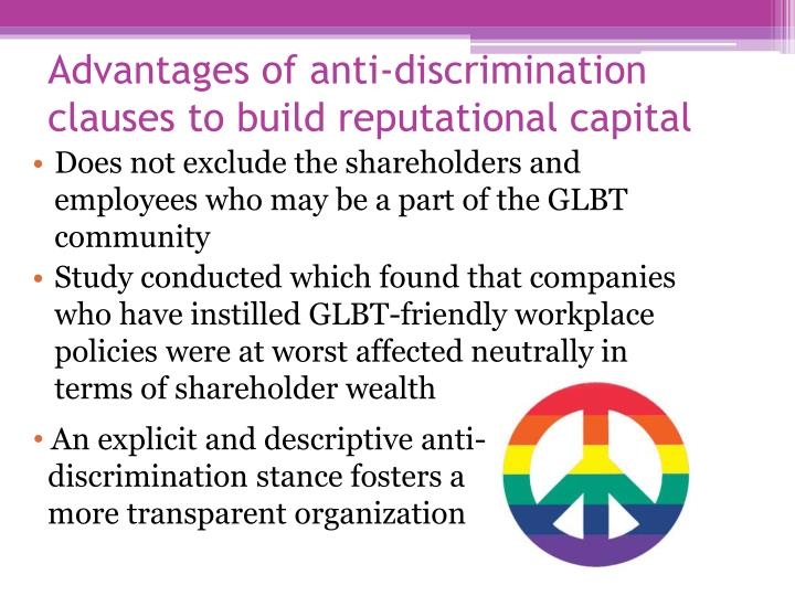 Advantages of anti-discrimination clauses to build reputational capital