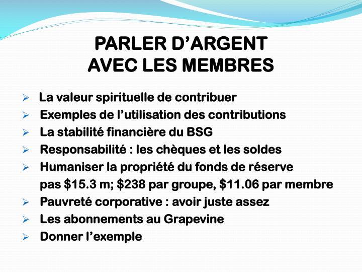 PARLER D'ARGENT