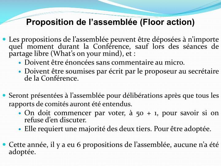 Les propositions de l'assemblée peuvent être déposées à n'importe quel moment durant la Conférence, sauf lors des séances de partage libre (What's on your mind), et :