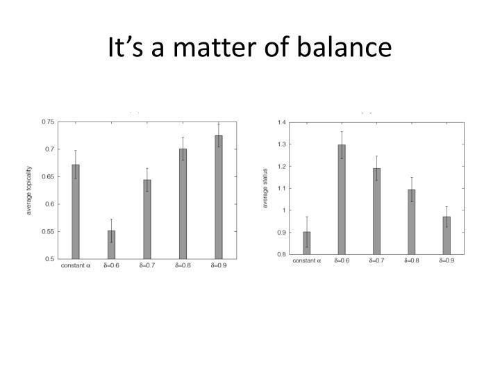 It's a matter of balance