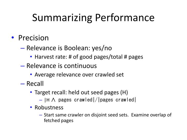 Summarizing Performance