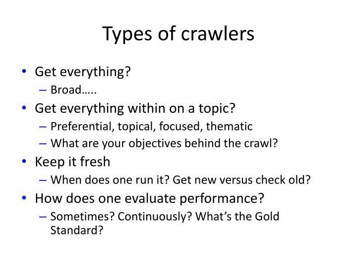 Types of crawlers