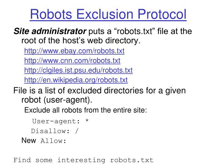 Robots Exclusion Protocol
