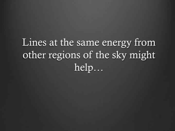 Lines at the same energy from other regions of the sky might help…