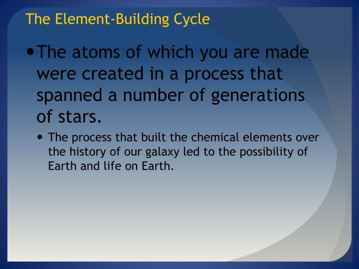 The Element-Building Cycle