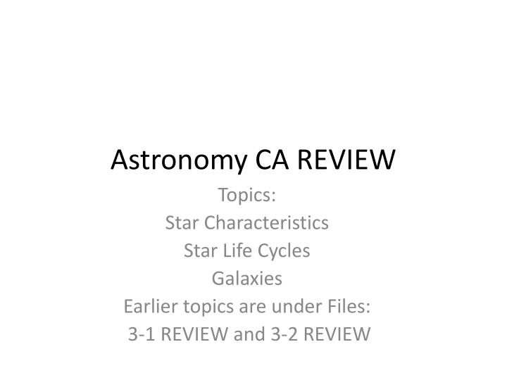 astronomy ca review