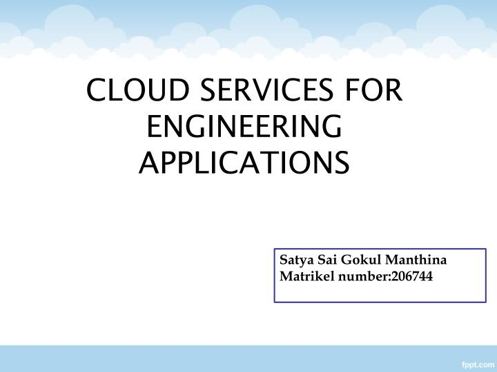cloud services for engineering applications n.