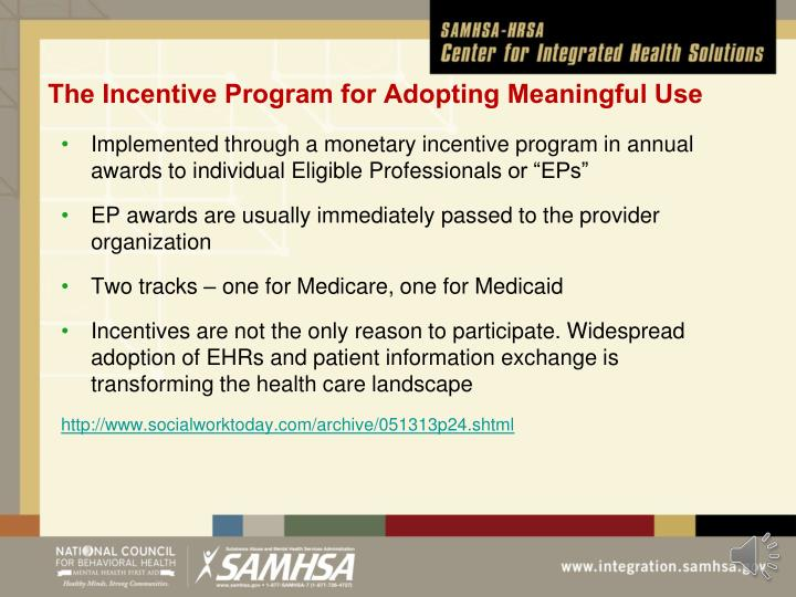 The Incentive Program for Adopting Meaningful Use