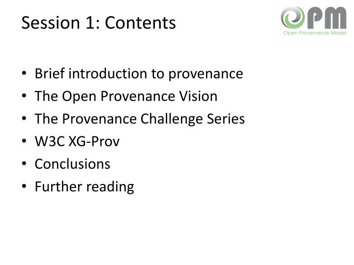 Session 1 contents