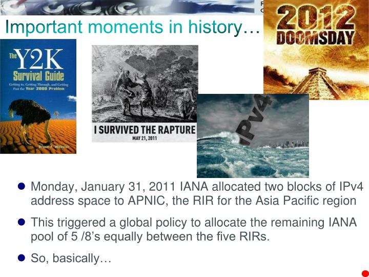 Important moments in history…