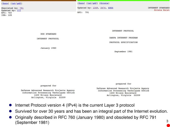 Internet Protocol version 4 (IPv4) is the current Layer 3 protocol