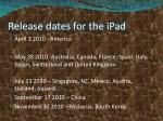 release dates for the ipad