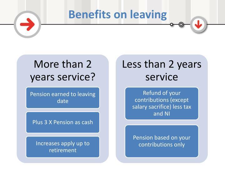 Benefits on leaving