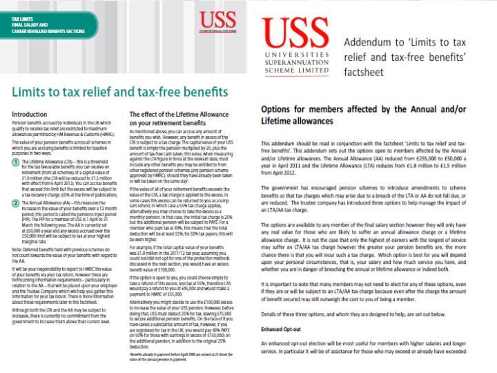 USS tax options