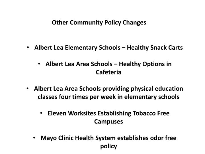 Other Community Policy Changes