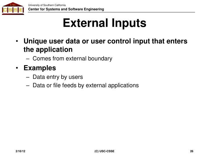 External Inputs