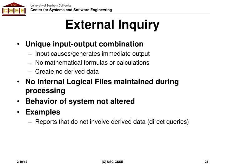 External Inquiry