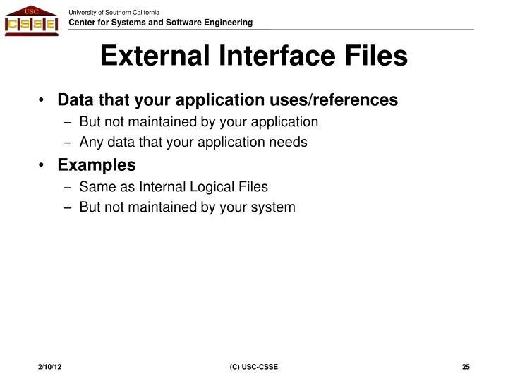External Interface Files