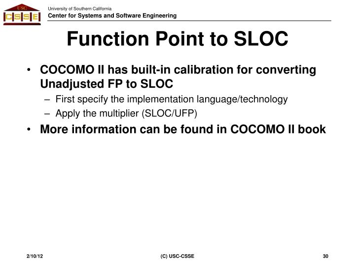Function Point to SLOC