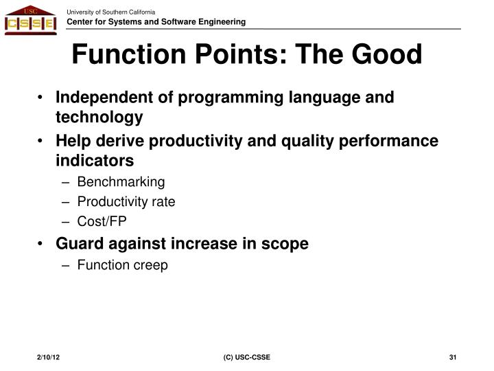 Function Points: The Good