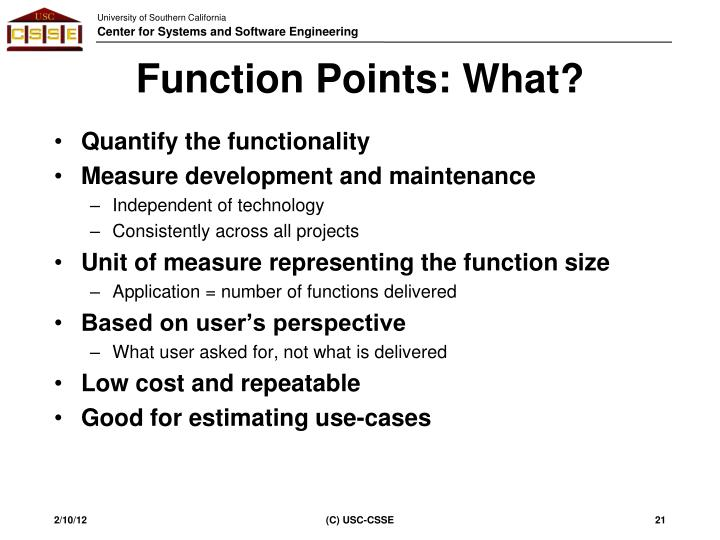 Function Points: What?