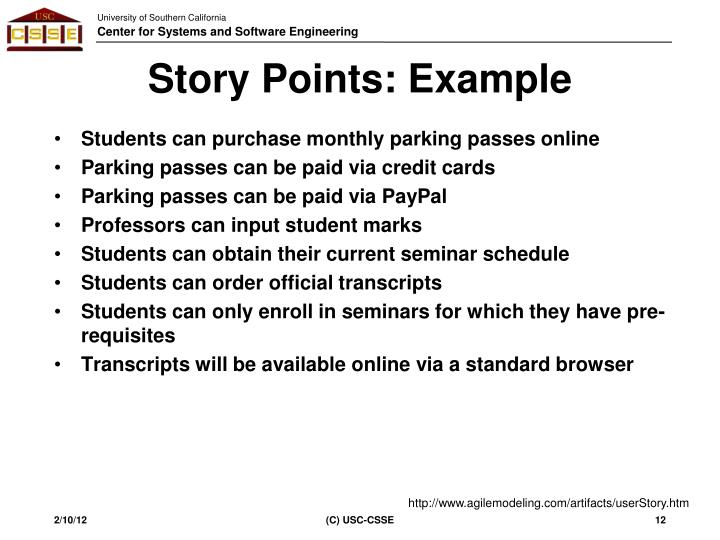 Story Points: Example