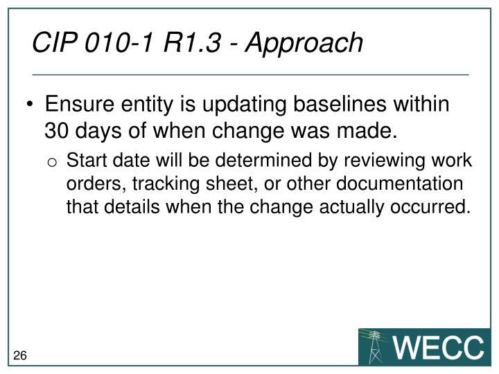 CIP 010-1 R1.3 - Approach