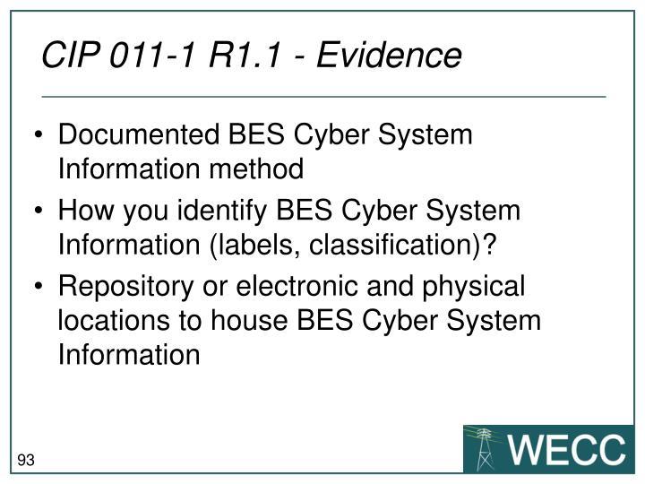 CIP 011-1 R1.1 - Evidence