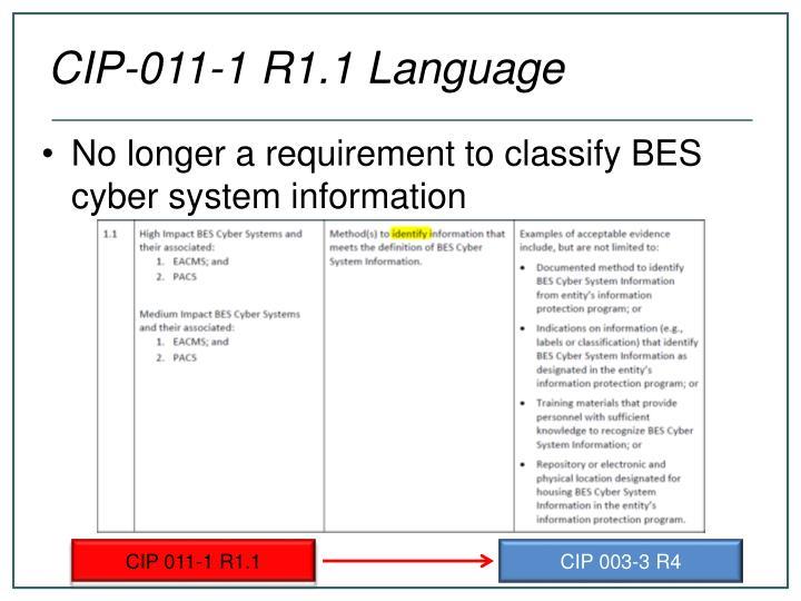 CIP-011-1 R1.1 Language