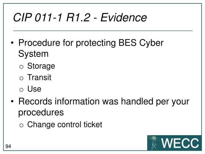 CIP 011-1 R1.2 - Evidence