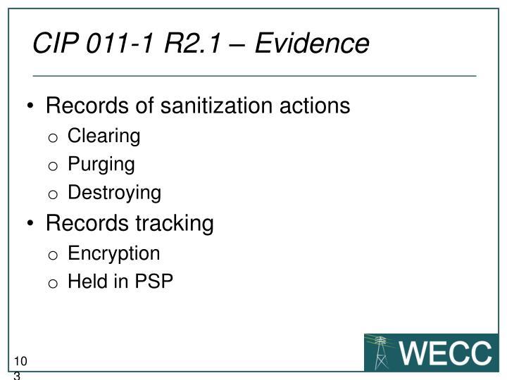 CIP 011-1 R2.1 – Evidence