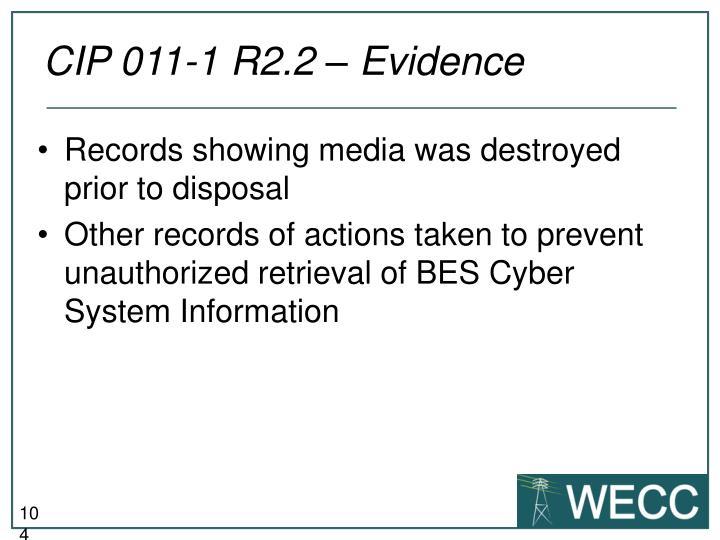 CIP 011-1 R2.2 – Evidence