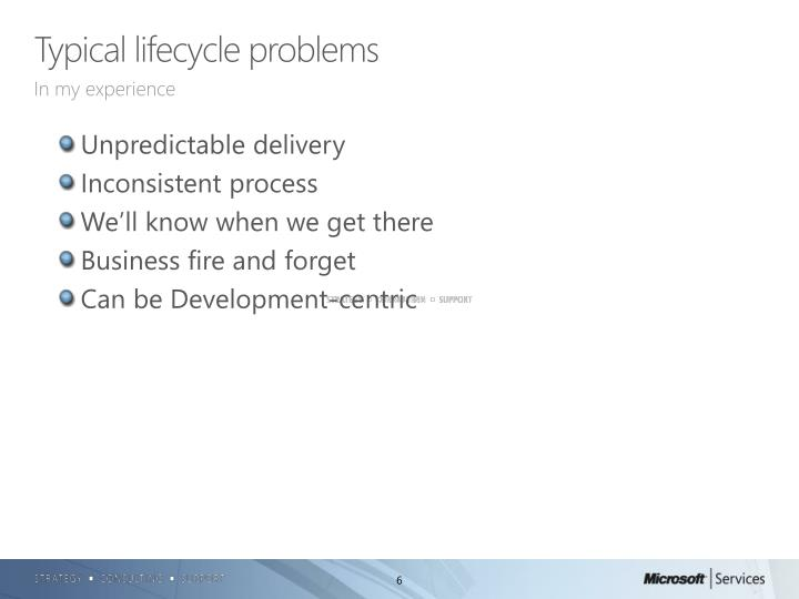Typical lifecycle problems