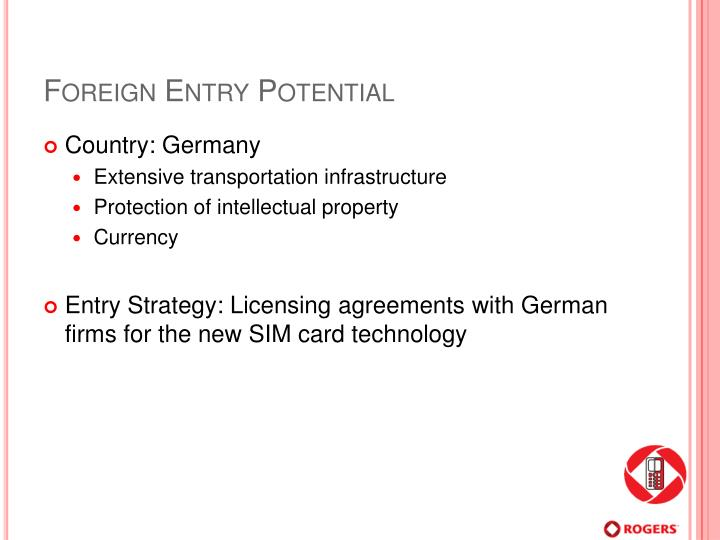 Foreign Entry Potential