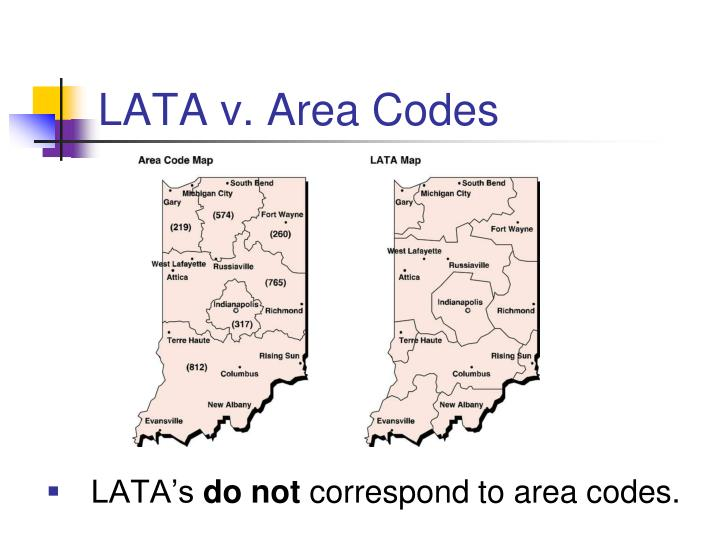 LATA v. Area Codes
