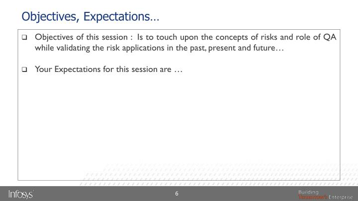 Objectives, Expectations…