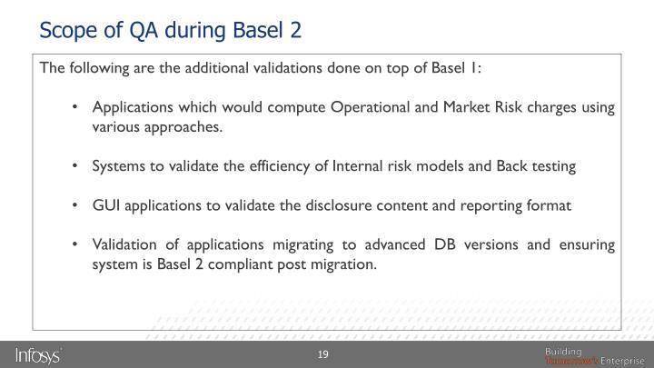Scope of QA during Basel 2