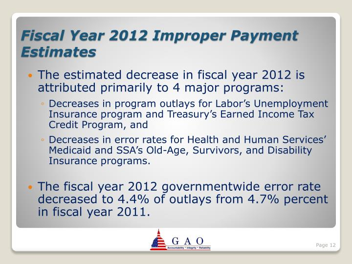 The estimated decrease in fiscal year 2012 is attributed primarily to 4 major programs: