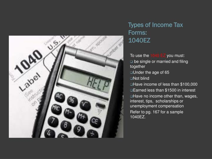 Types of Income Tax Forms: