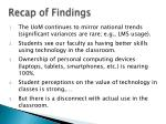 recap of findings