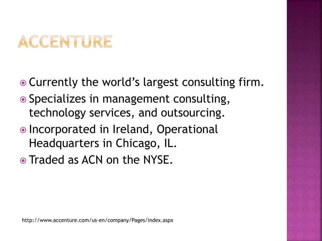 PPT - Accenture and IT consulting: An Introduction PowerPoint