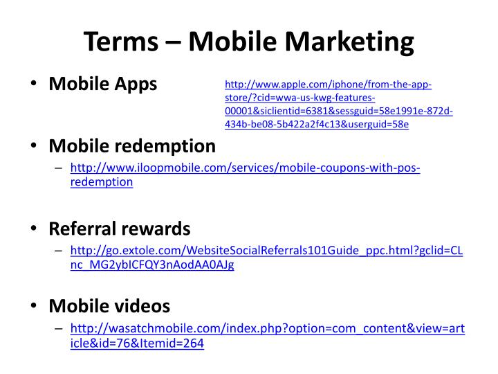 Terms – Mobile Marketing